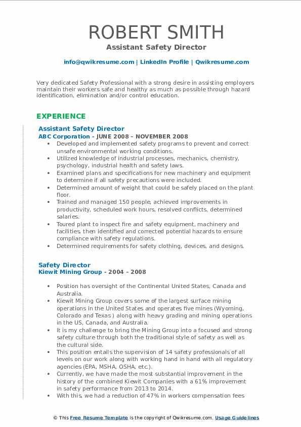 Assistant Safety Director Resume Template
