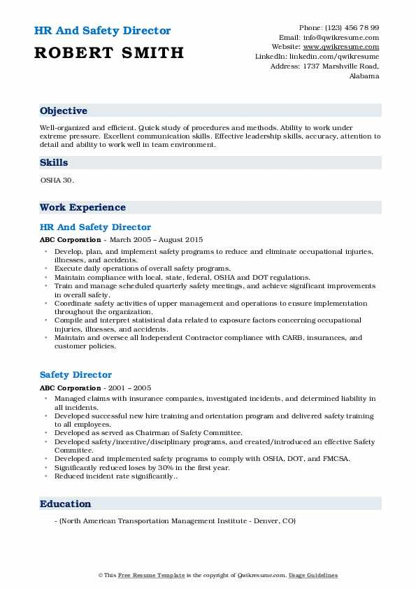 HR And Safety Director Resume Model