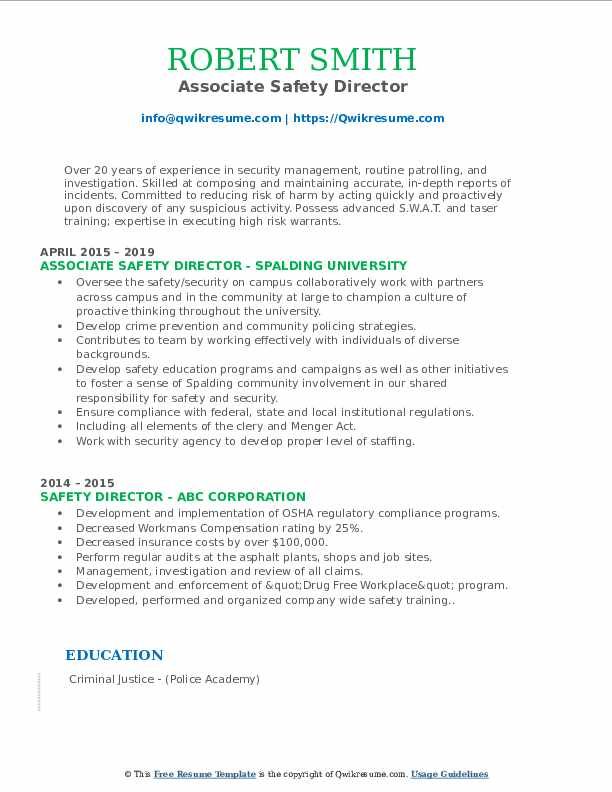 Associate Safety Director Resume Template