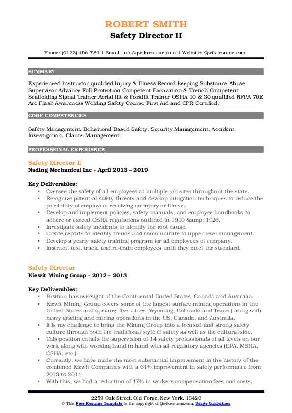 Safety Director II Resume Format
