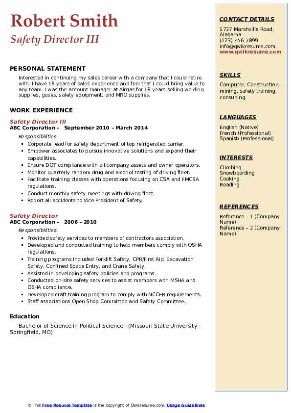 Safety Director III Resume Format