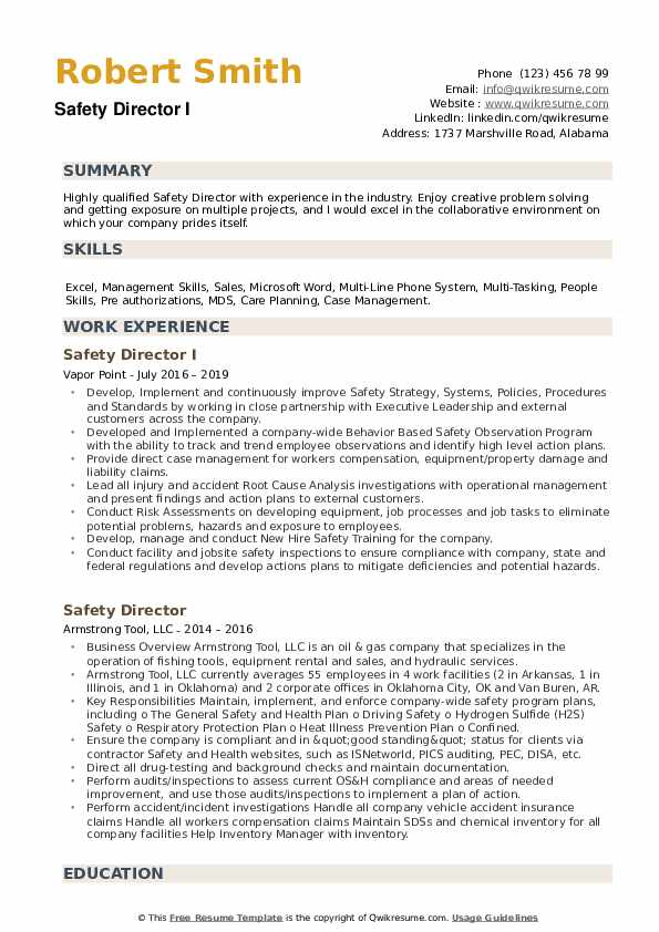 Safety Director I Resume Example