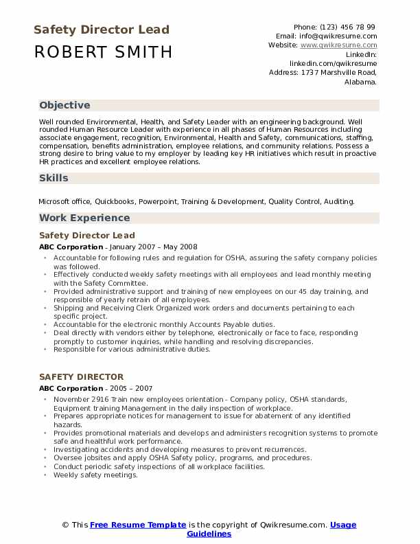 Safety Director Lead Resume Format