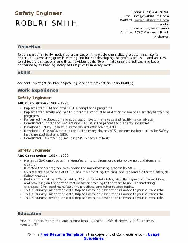 Safety Engineer Resume example