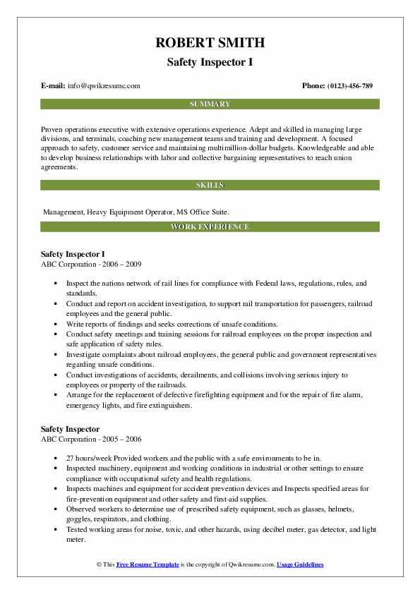 Safety Inspector I Resume Example