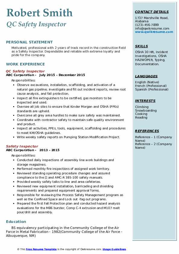 QC Safety Inspector Resume Example