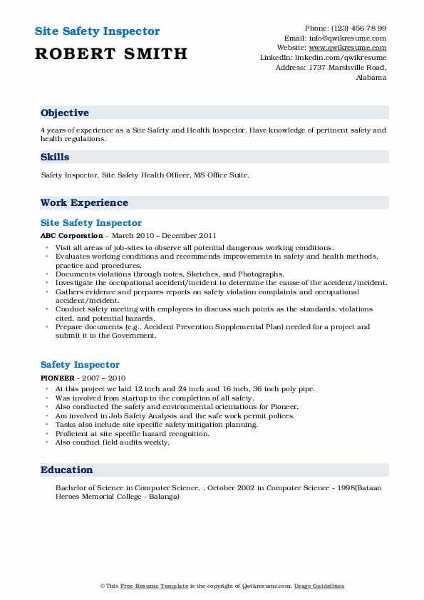 Site Safety Inspector Resume Sample