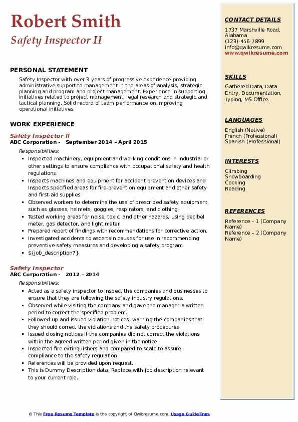 Safety Inspector II Resume Model