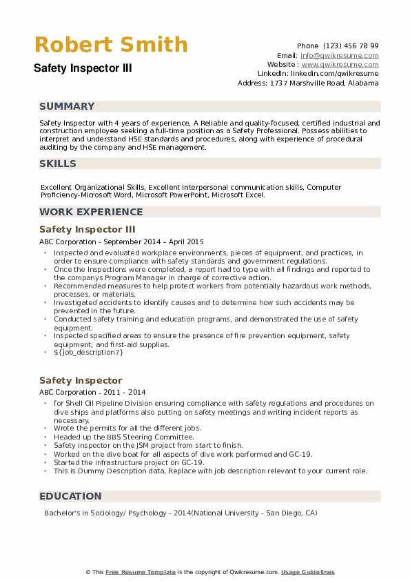 Safety Inspector III Resume Example