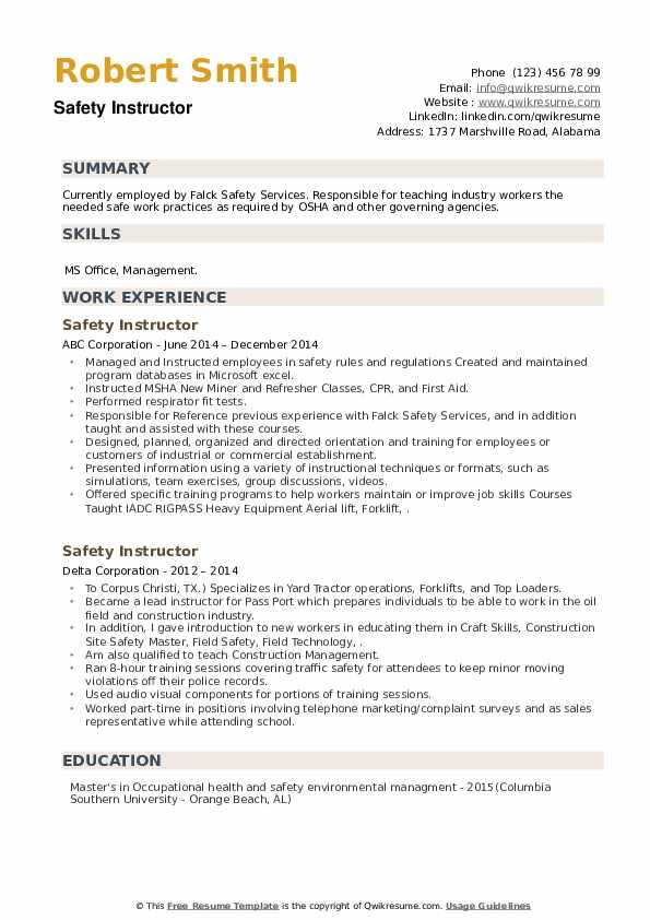 Safety Instructor Resume example