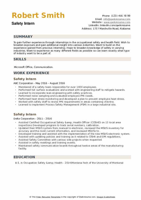 Safety Intern Resume example