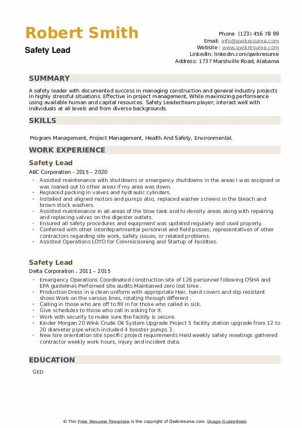 Safety Lead Resume example