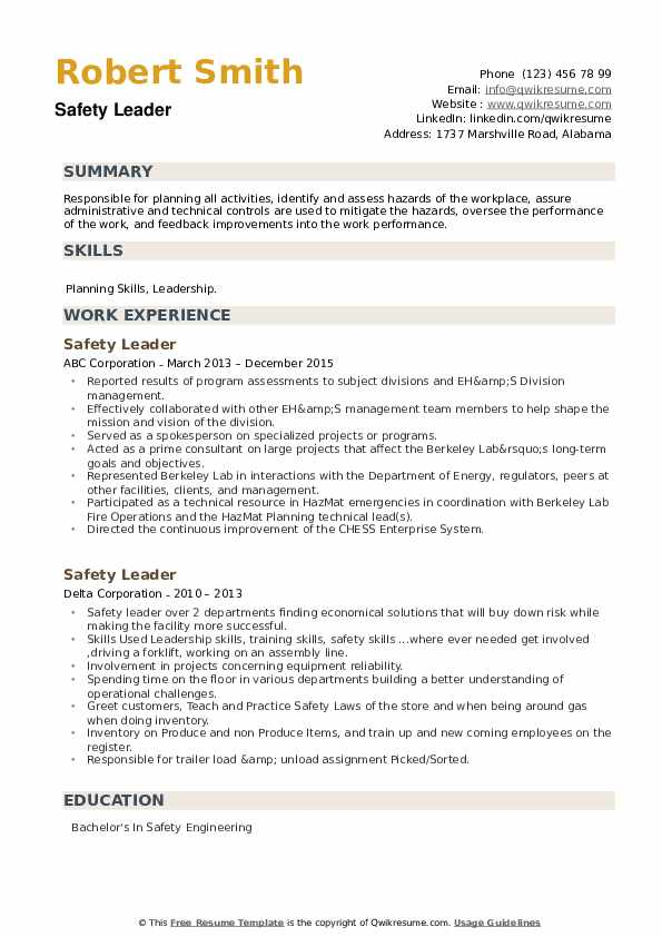 Safety Leader Resume example