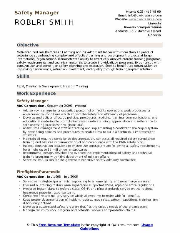Safety Manager Resume Model