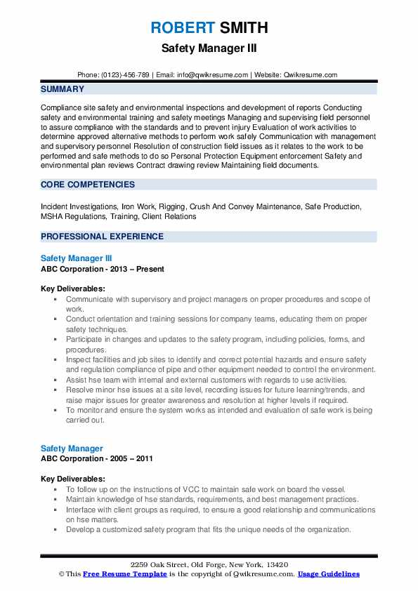 Safety Manager III Resume Template
