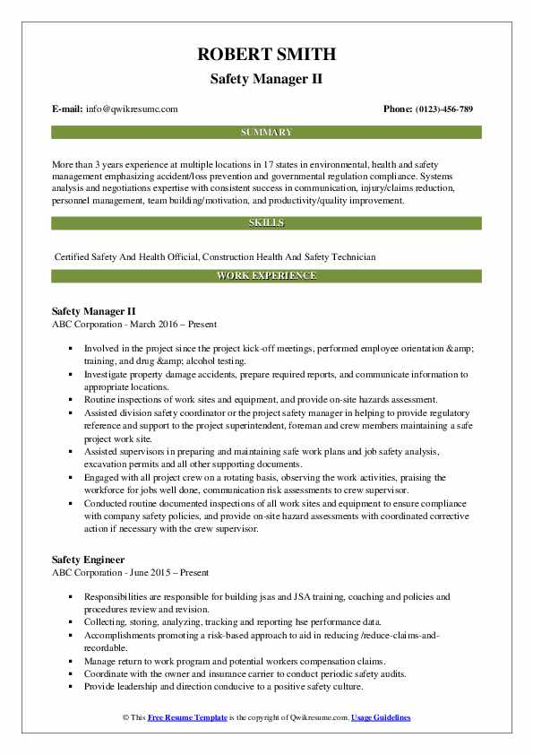 Health and safety director resume June 2020