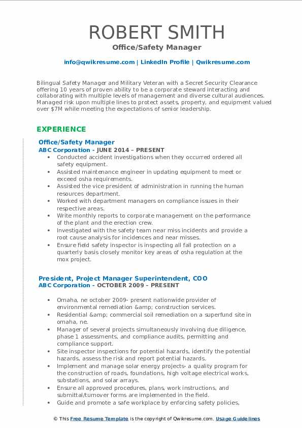 Office/Safety Manager Resume Sample