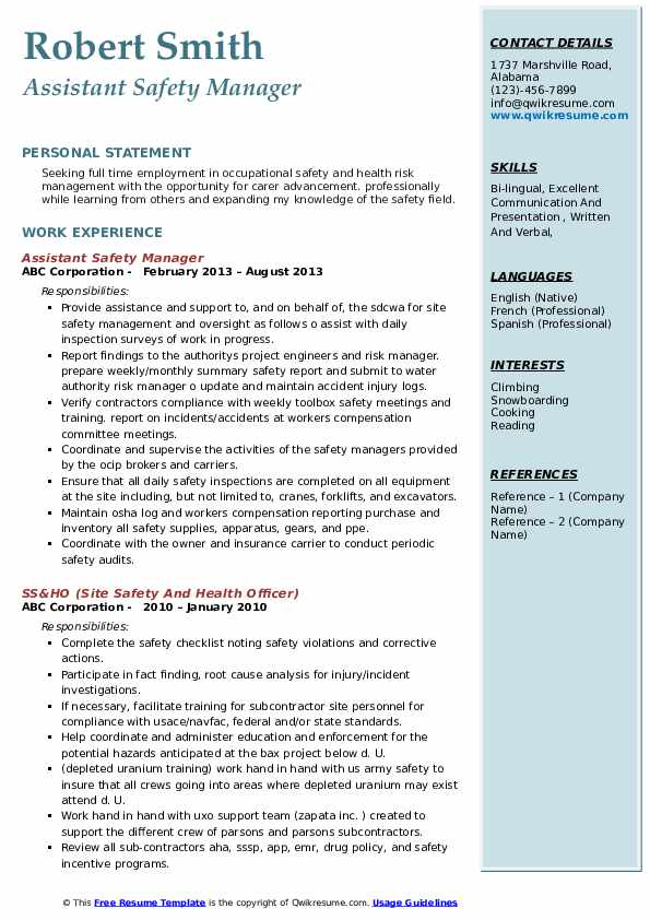 Assistant Safety Manager Resume Example