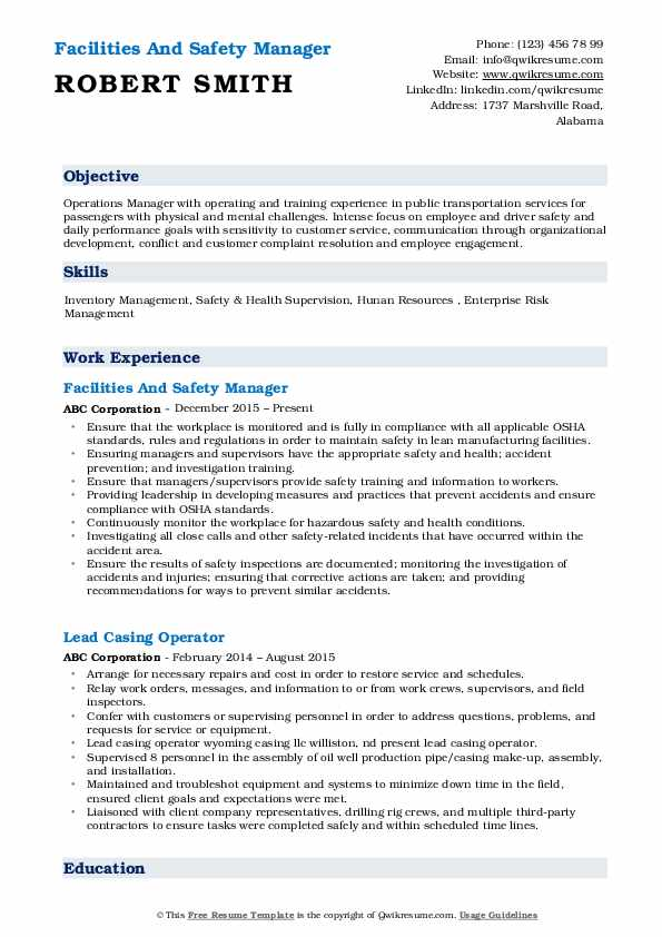 Safety Manager Resume Samples | QwikResume