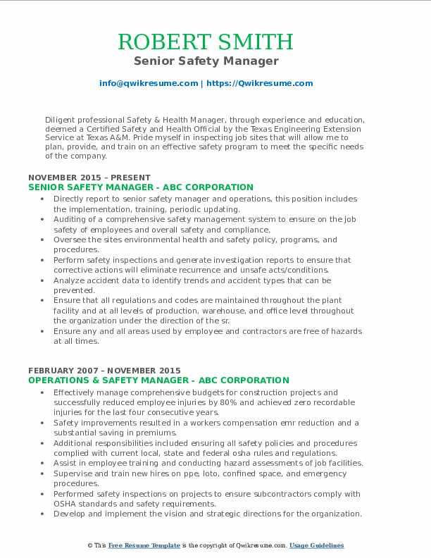Senior Safety Manager Resume Format