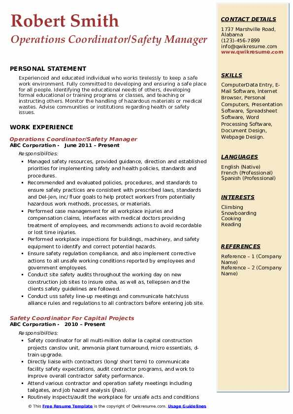 Operations Coordinator/Safety Manager Resume Model