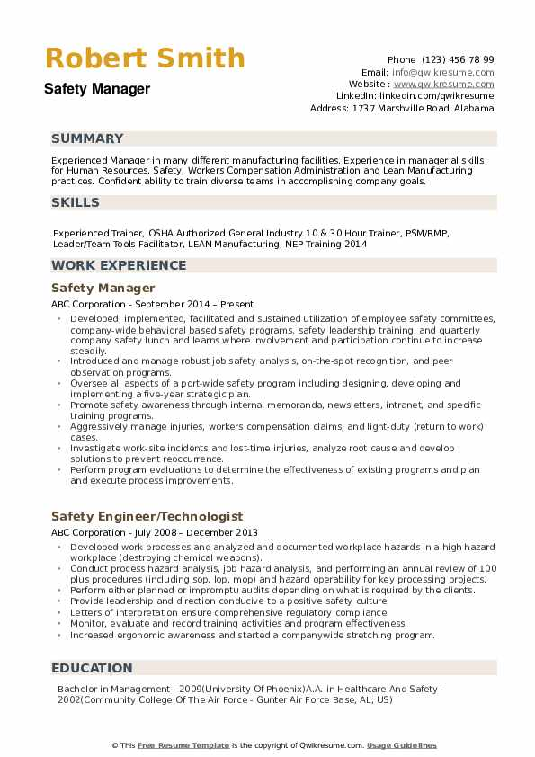 Safety Manager Resume example
