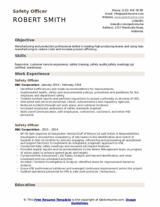 Safety Officer Resume Model
