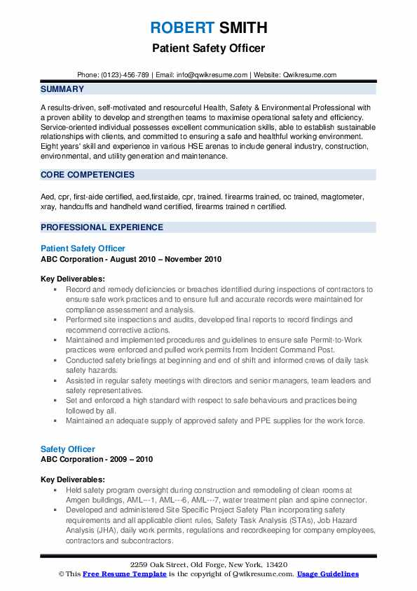 Patient Safety Officer Resume Format
