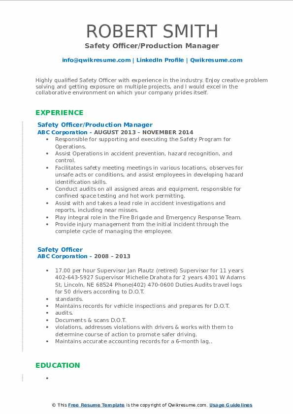 Safety Officer/Production Manager Resume Format