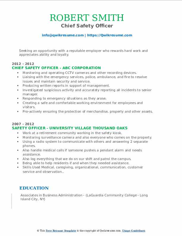 Chief Safety Officer Resume Format