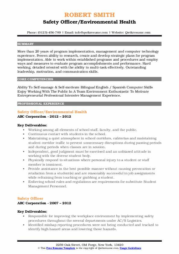 Safety Officer/Environmental Health Resume Example