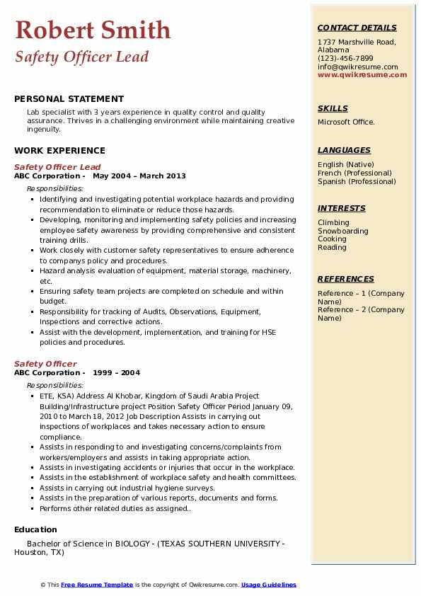 Safety Officer Lead Resume Template