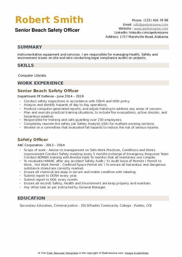 Senior Beach Safety Officer Resume Model