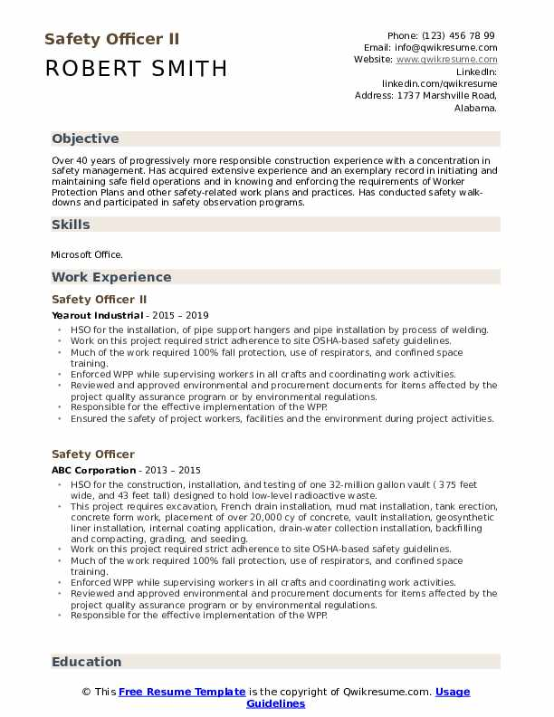 Safety Officer II Resume Example