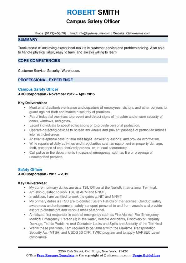 Safety Officer Resume example