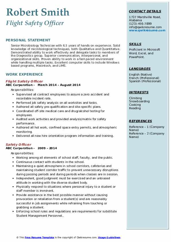 Corporate Safety Director Resume Sample