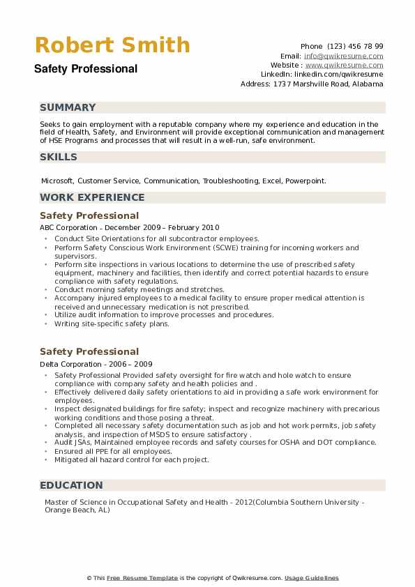 Safety Professional Resume example