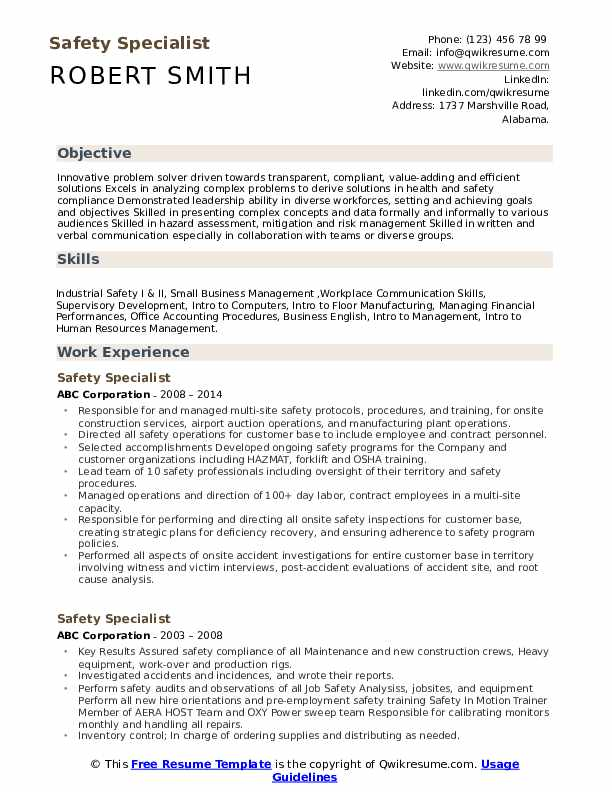 Safety Specialist Resume Format