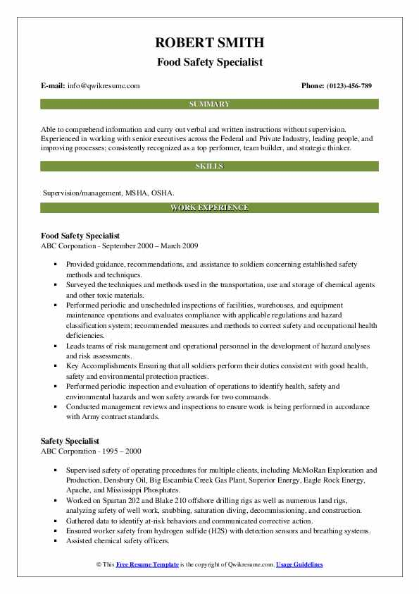 Food Safety Specialist Resume Template