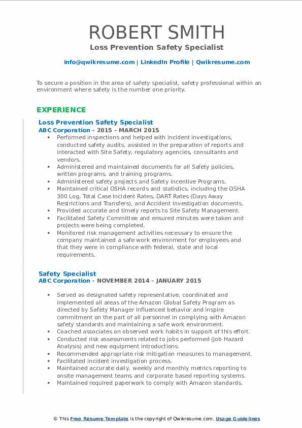 Loss Prevention Safety Specialist Resume Model