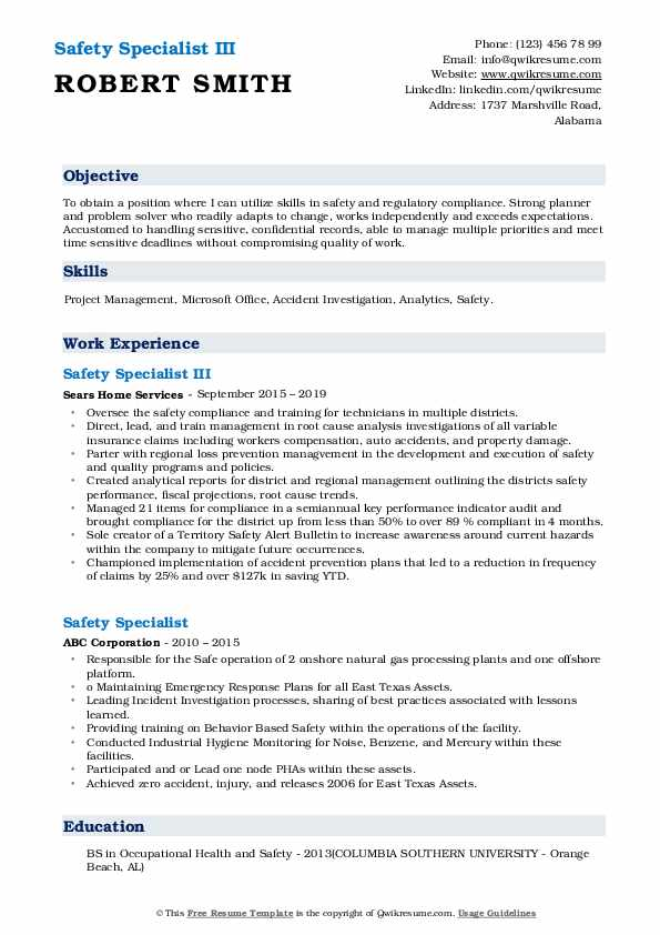 Safety Specialist III Resume Format
