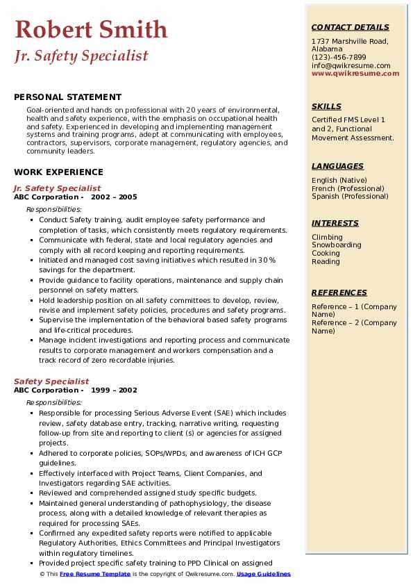 Jr. Safety Specialist Resume Template