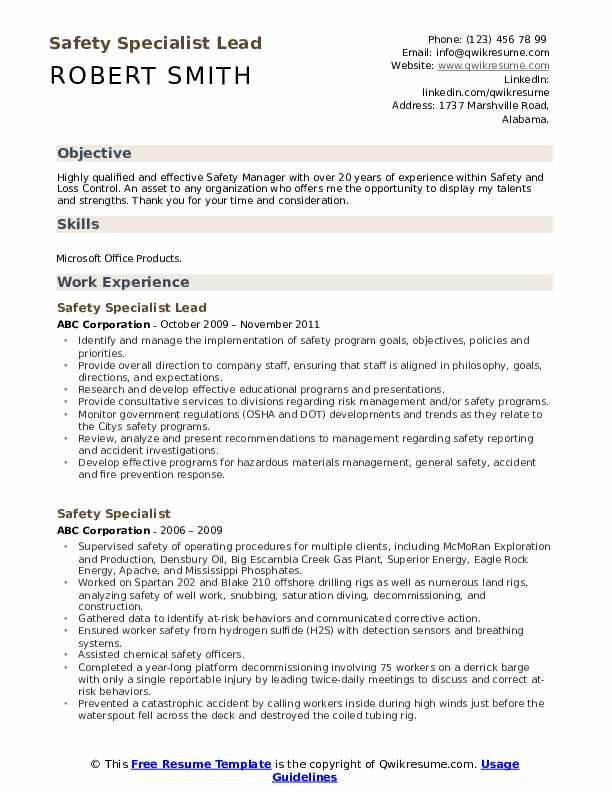 Safety Specialist Lead  Resume Format