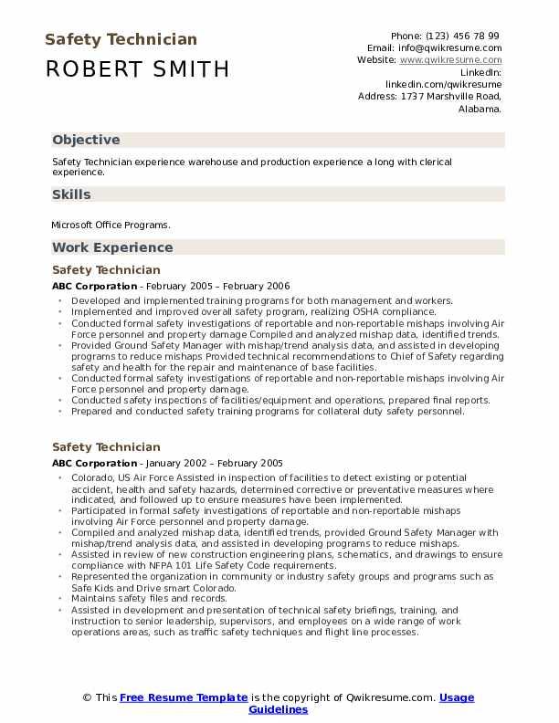 Safety Technician Resume Sample
