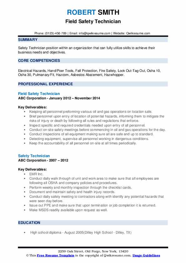Field Safety Technician Resume Template