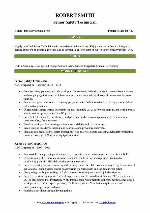 Senior Safety Technician Resume Template