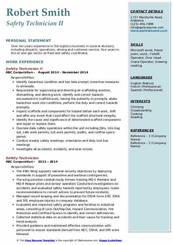 Safety Technician II Resume Template
