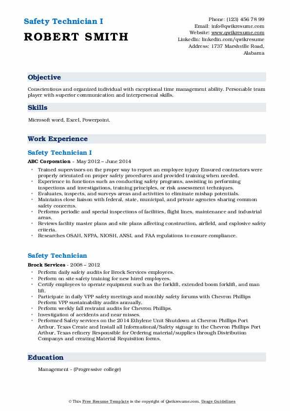 Safety Technician I Resume Example