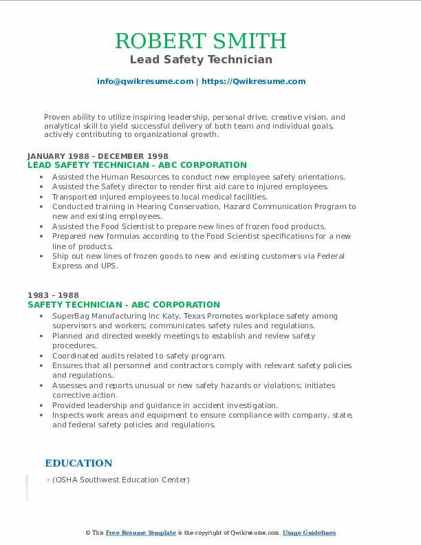Lead Safety Technician Resume Example