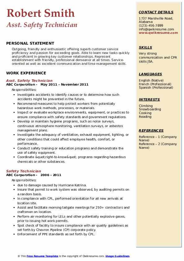 Asst. Safety Technician Resume Format